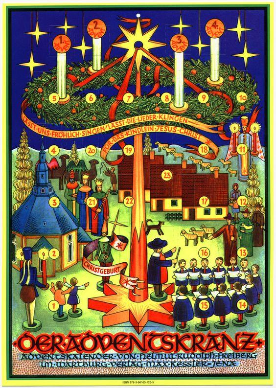 Der Adventskranz Adventskalender aus dem Erzgebirge Spielzeug Kurrende Reprint