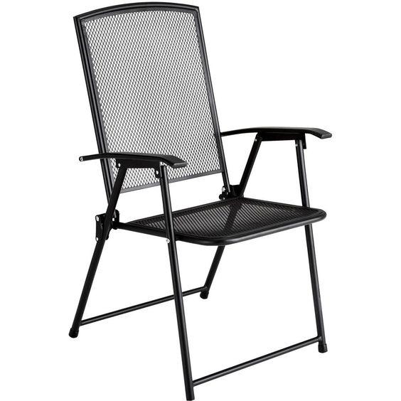 Metal Garden Chair Folding Steel Outdoor Patio Deck