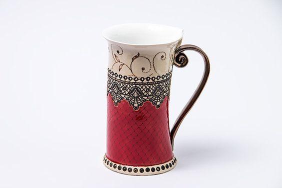 Céramique Mug tasse de thé Handbuilding par StudioRosalina sur Etsy