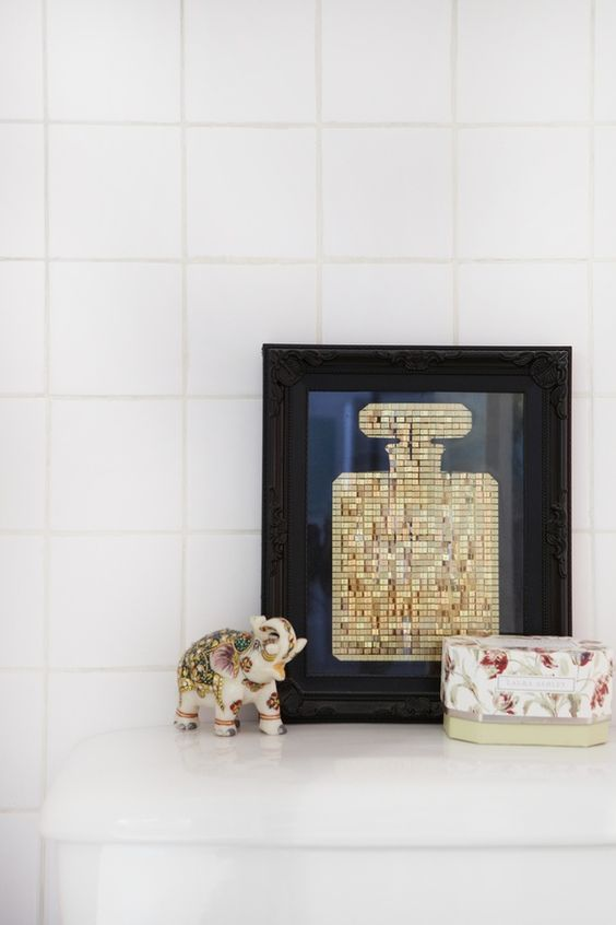 bathroom accessories. by @Helena del Rio - A Diary of Lovely as photographed by Sarah Hogan for The Everygirl: Art Wall Decor, Del Rio, Adiaryoflovely Blogspot, Helena Del, Bottle Photography, Decorating Ideas, Bathroom Accessories, Perfume Bottle, Wall Ideas