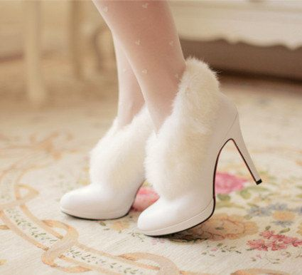 Handmade white fur trim ankle boots winter bare heels wedding shoes bridal shoes bridesmaid shoes, dress shoes, high-heeled boots