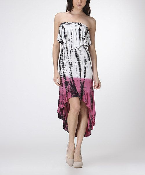 Take a look at the CottyOn White & Pink Tie-Dye Hi-Low Dress on #zulily today!