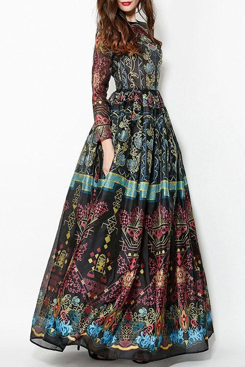 Colorful Vintage Print Maxi Voile Dress