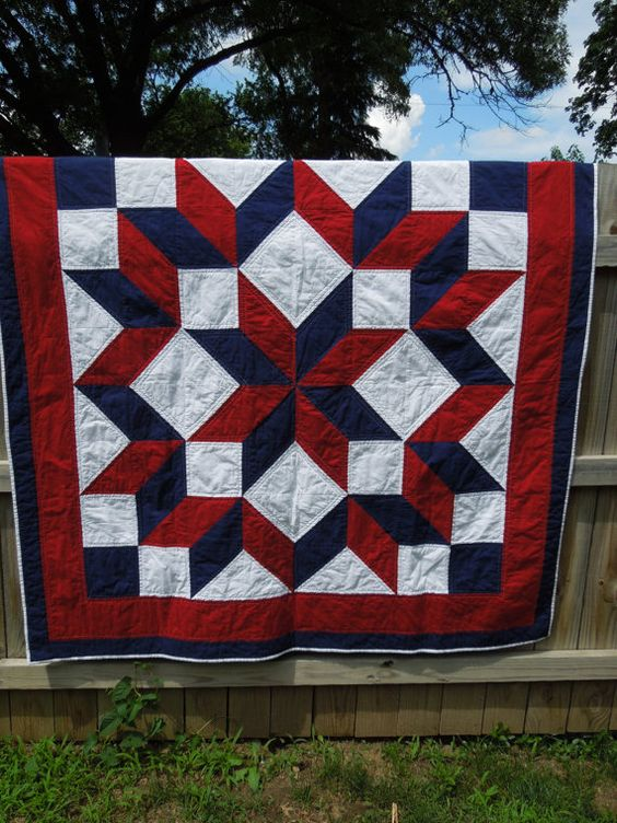 Red White and Blue Lap Quilt by MollyRoseQuilts on Etsy, $150.00: