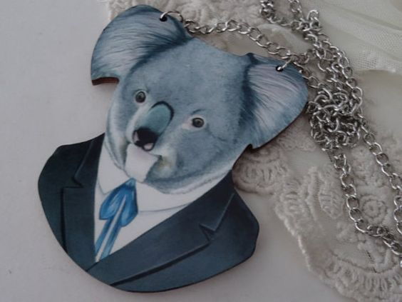 1 Koala in a Suit and Tie Necklace Large by PeculiarCollective