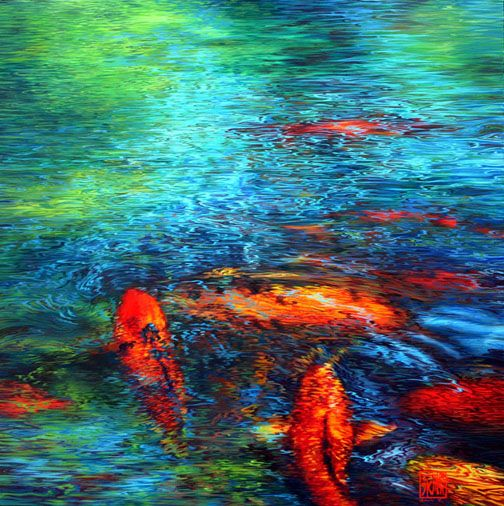 Nature and pond art creatures great and small for Koi art nature