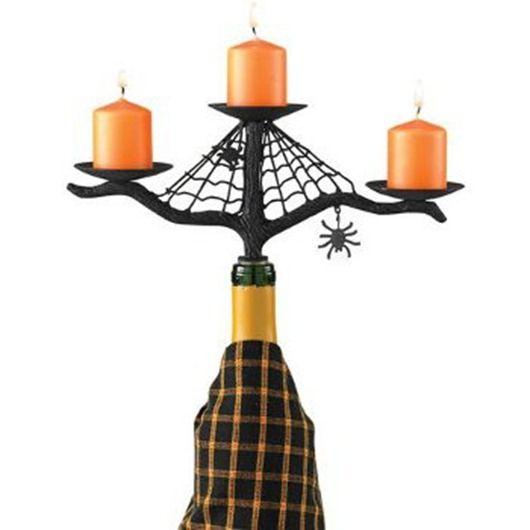 Vino de Halloween botella candelabro.