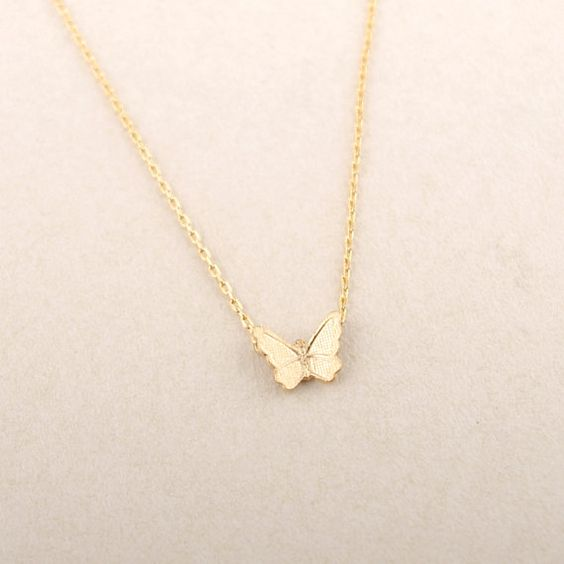 Gold/ Pink Gold Textured Butterfly Necklace by bkandjio on Etsy, $14.00