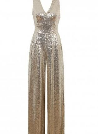 Gold Sequin Sleeveless Jumpsuit with V-Neckline,  Other, sequin jumpsuit  open back, Chic