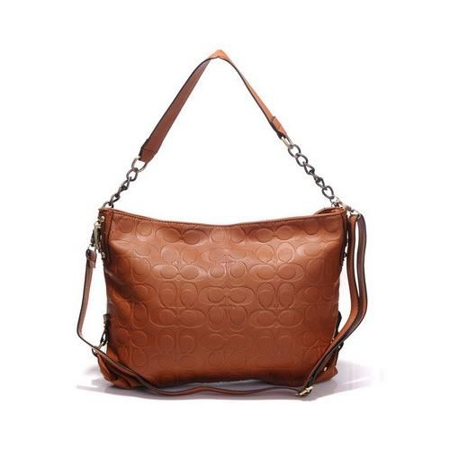 Coach Embossed In Monogram Medium Tan Shoulder Bags DGK