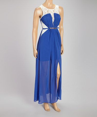 Blue Lace Chiffon-Overlay Belted Maxi Dress by Love Point #zulily #zulilyfinds
