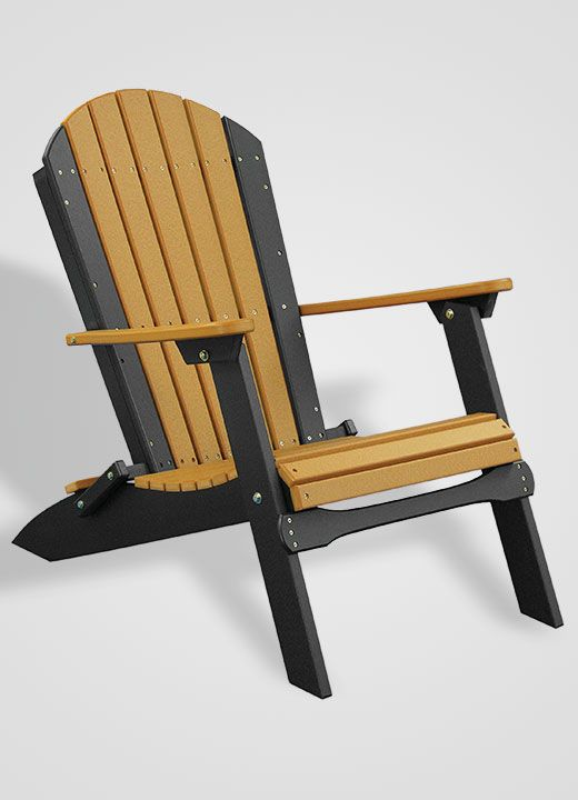Poly Portable Folding Adirondack Chair - Cedar and Black  Adirondack Chairs ...