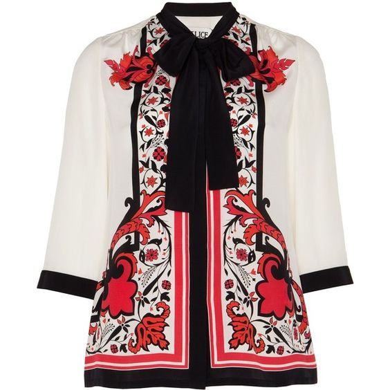 Alice by Temperley Nijinsky Print Shirt (€165) ❤ liked on Polyvore featuring tops, red mix, print shirts, red shirt, evening tops, special occasion tops and alice by temperley
