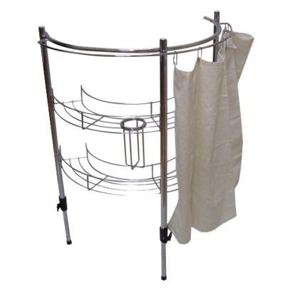 Bathroom Sink Rack : ... Essentials Bathroom Sink Rack Storage with Curtain fits under the sink