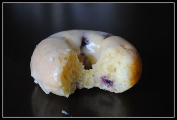 Orange Glazed Blueberry Doughnuts by preventionrd: 98 calories! #Donut #Blueberry #preventionrd