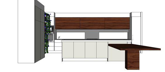Kitchen design, sketch up, 3d drawing, 3d design, kitchen designer, designer, kitchen, timber veneer, vertical herb garden, american walnut