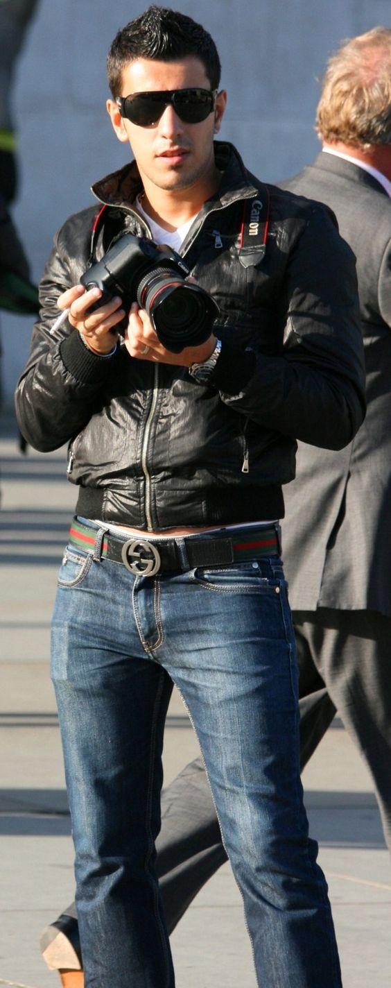 glasses, belt, jacket
