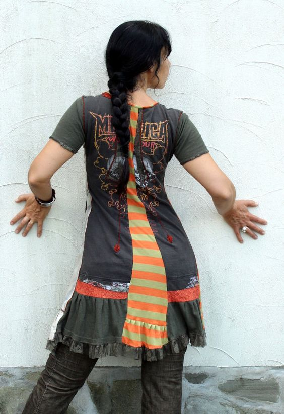 Reserved for Anna Kjelldorff Metallica recycled crazy goth dress tunic bohemian style