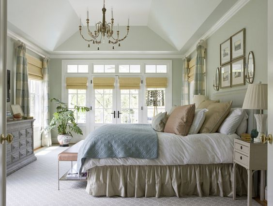 "Beautiful calm bedroom with traditional decor and walls are Benjamin Moore Hollingsworth Green HC 141"" #hollingsworth"