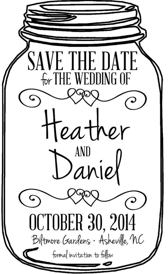 Mason Jar Wedding Save The Date LARGE Stamp 3x5, DIY Save