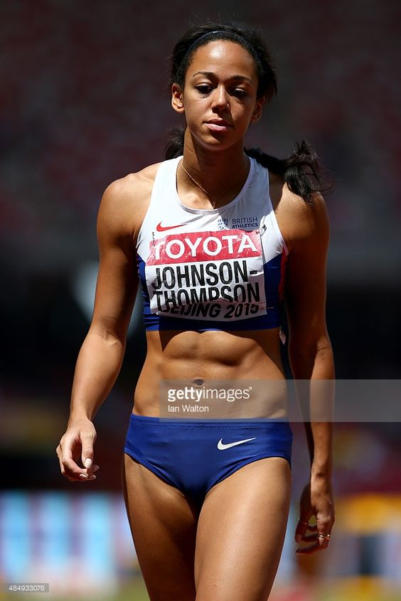 Katarina Johnson-Thompson of Great Britain looks on after competing in the Women's Heptathlon Javelin during day two of the 15th IAAF World Athletics Championships Beijing 2015 at Beijing National Stadium on August 23, 2015 in Beijing, China.