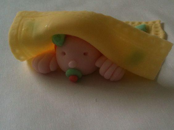 Yellow blanket over fondant baby's head