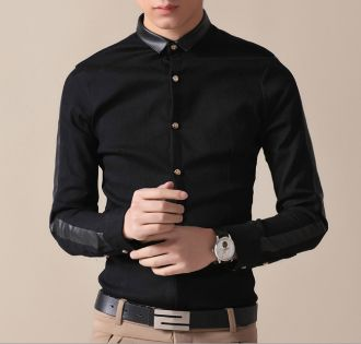 Men&39s Shirt with Faux Leather Collar  Pinterest for Men ...