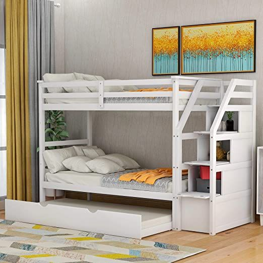 Twin Over Trundle Bunk Bed With 3, Bunk Bed With Trundle And Storage Drawers