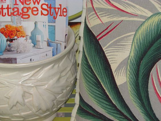 Cute Little Tropical Oasis hand Crafted PILLOW VTG Barkcloth & Ticking Fabric