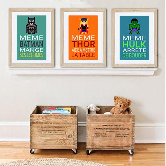 3 affiches superh ros avec citation humoristique pour d coration murale chambre enfant ou salle for Idee deco chambre garcon 2 ans