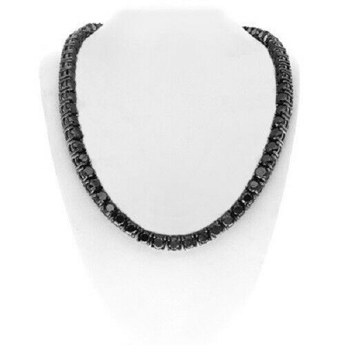 12 70 Ct 22 Round Black Diamond Men S Tennis Chain Necklace 14k Black Gold Over Newjewelry4less In 2020 Black Diamond Diamond Tennis Necklace Diamond Chain Necklace