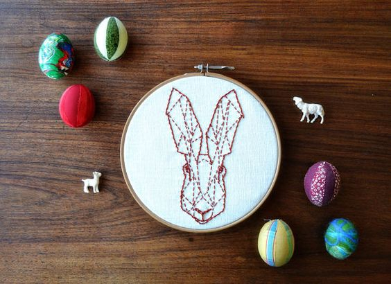 geometric easter rabbit embroidery pattern PDF by Pumora on Etsy