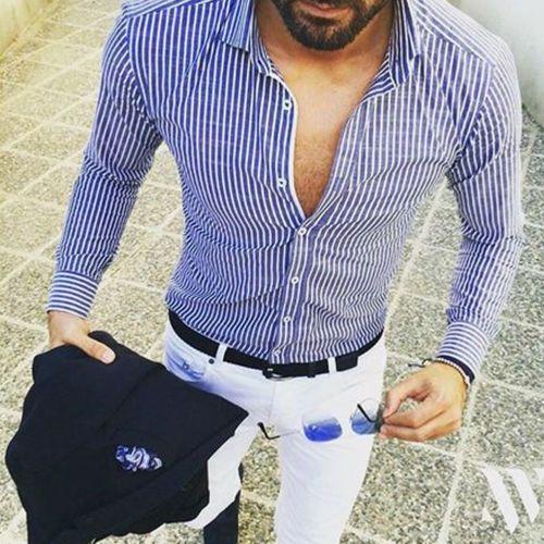 Men/'s Luxury Denim Long Sleeve Shirt Casual Slim Fit Stylish Dress Shirts Tops