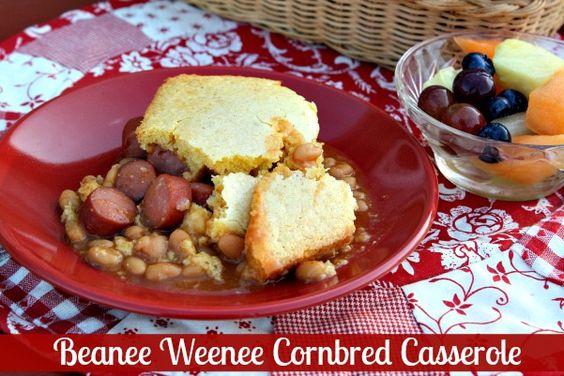 Mommy's Kitchen: Beanee Weenee Cornbread Casserole & {Easy Weeknight Meal Plan}