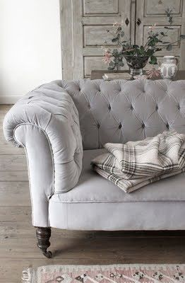 ♅ Dove Grey Home Decor ♅ grey velvet tufted sofa