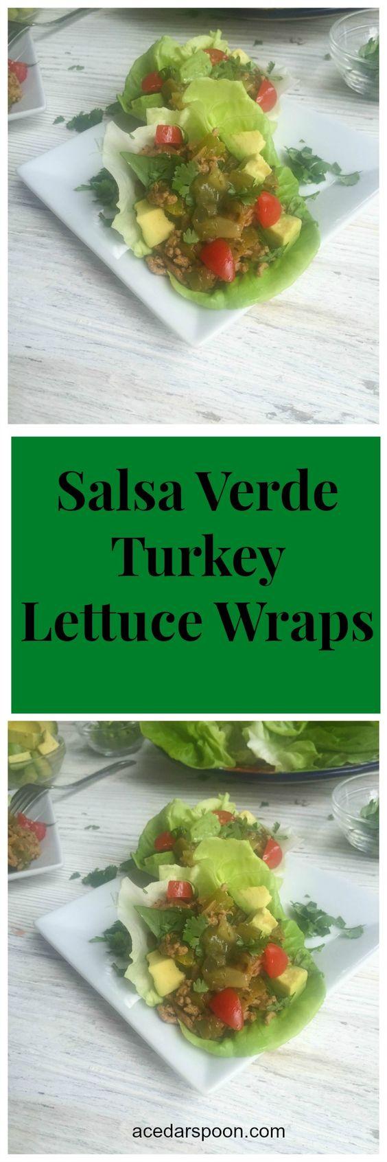 Salsa Verde Turkey Lettuce Wraps // A Cedar Spoon