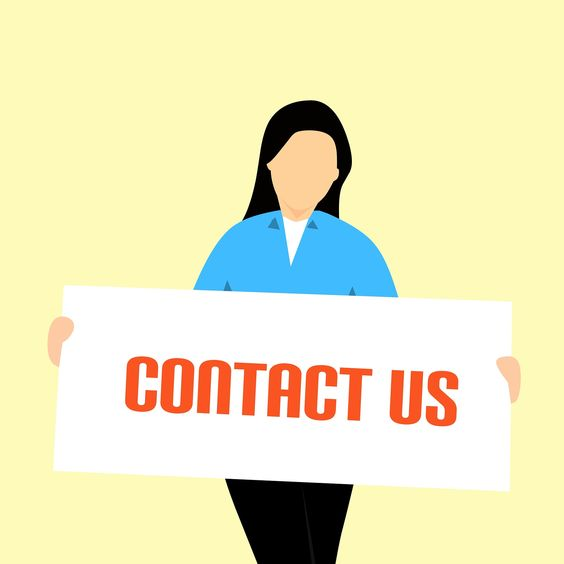 Contact us page - lady holding contact us banner