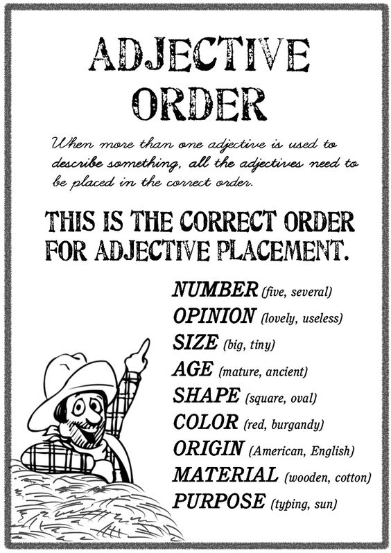 how to say the order of something in english