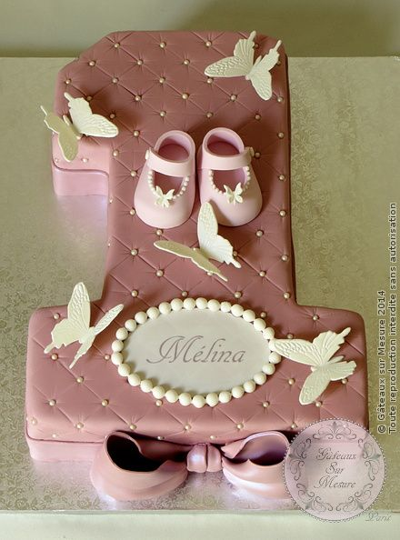 Cake designs atelier and papillons on pinterest - Anniversaire bebe 1 an decoration ...