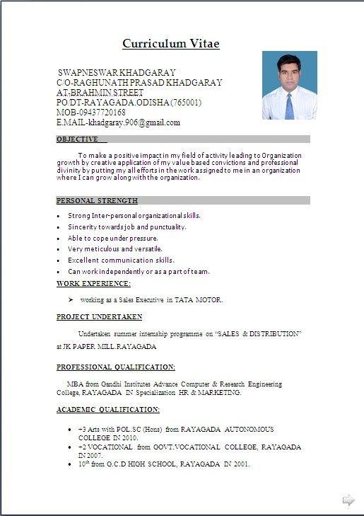Cv Word Document Format Resume Format Download Resume Format For Freshers Resume Template Word