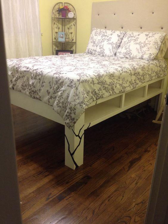Diy bed bed frames and diy bed frame on pinterest for Diy ottoman bed frame