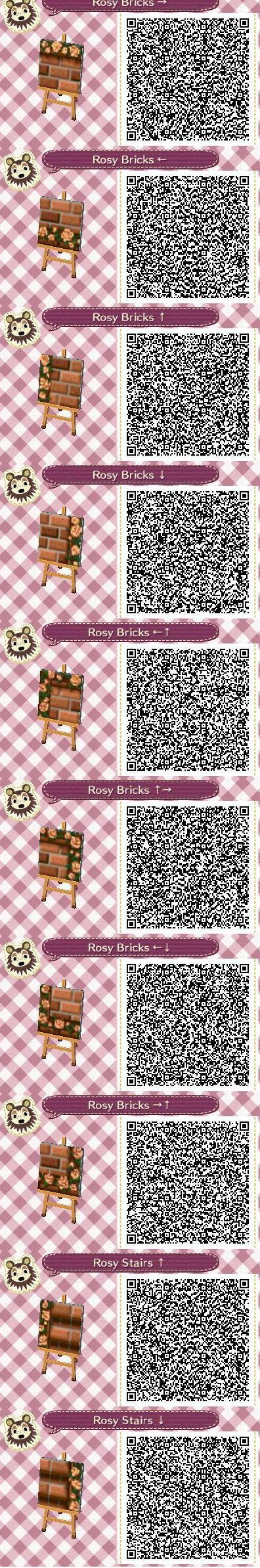 Rosy Bricks Part 1 QR codes --by Pixel Rose Designs on Tumblr http://pixelroses.tumblr.com/