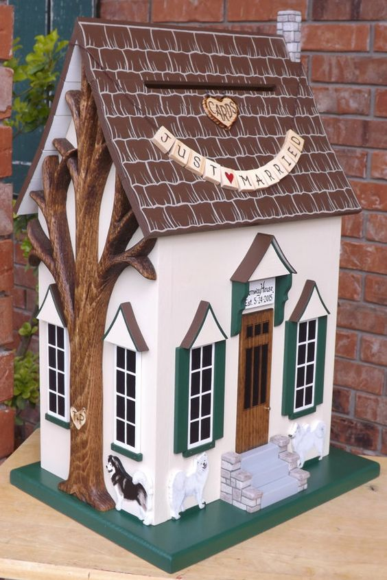 Large Wedding Card Box Birdhouse Whimsical by mulberrylanefolkart – Large Wedding Card Box