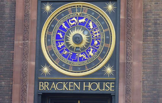 Perhaps the most interesting feature of the astronomical clock outside Bracken House in the City is the face of Winston Churchill at its centre. He was a personal friend of Bernard Bracken, former chairman of the Financial Times, who used to own the building. There are no clock hands -- instead the outer dial with Roman numerals rotates to give the hour -- whatever is in the usual 12 o'clock position is the current time. The month of the year is also shown in this way, and the number…