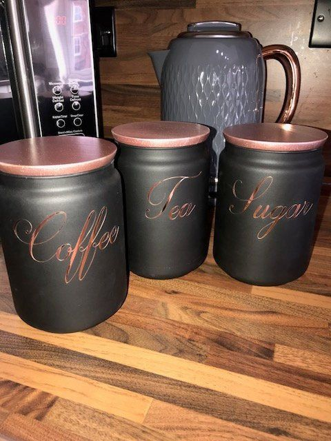 Kitchen Cansiters Set Of 3 Black Coffee Tea Sugar Canisters