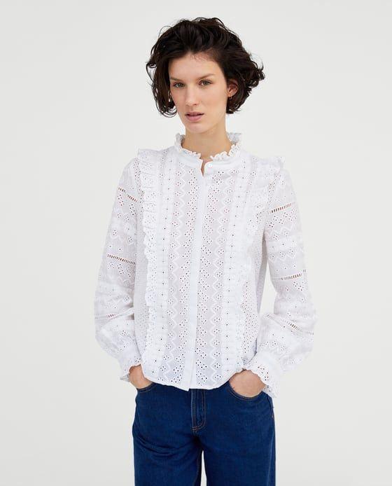 zara chemise blanche brodée