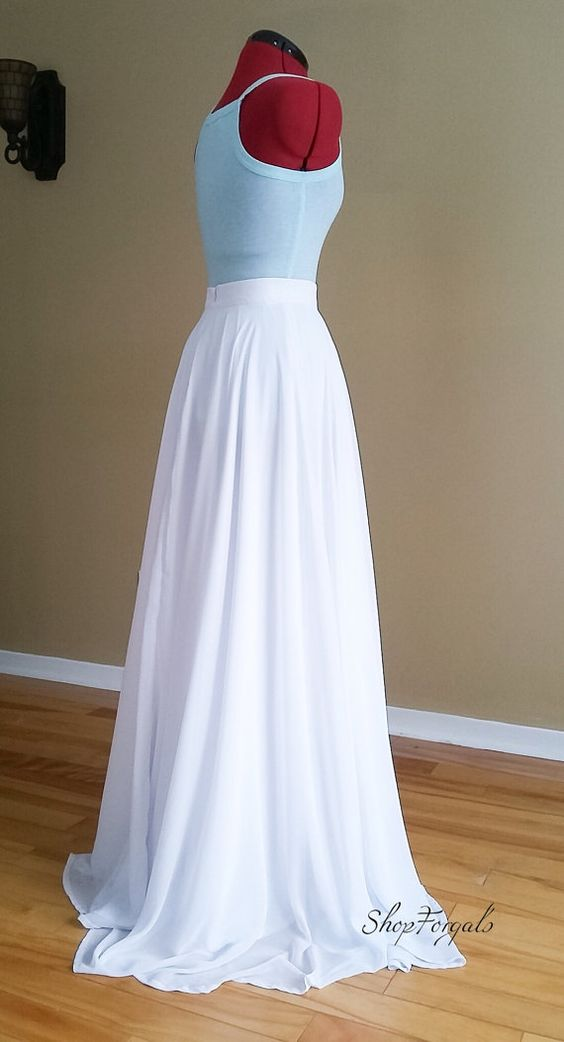 $176 *** Custom order skirt, made with your own measurement and color choice. Feel free to ask If you need another color.  Chiffon wedding skirt fully lined with flowy soft satin, floor length 42. Invisible zipper on center back, waistband wide 1,5.  Skirt length can be made longer or shorter