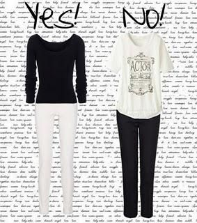 inverted triangle- solid colored fitted top- light or printed bottoms- preferably straight, bootcut or wide leg