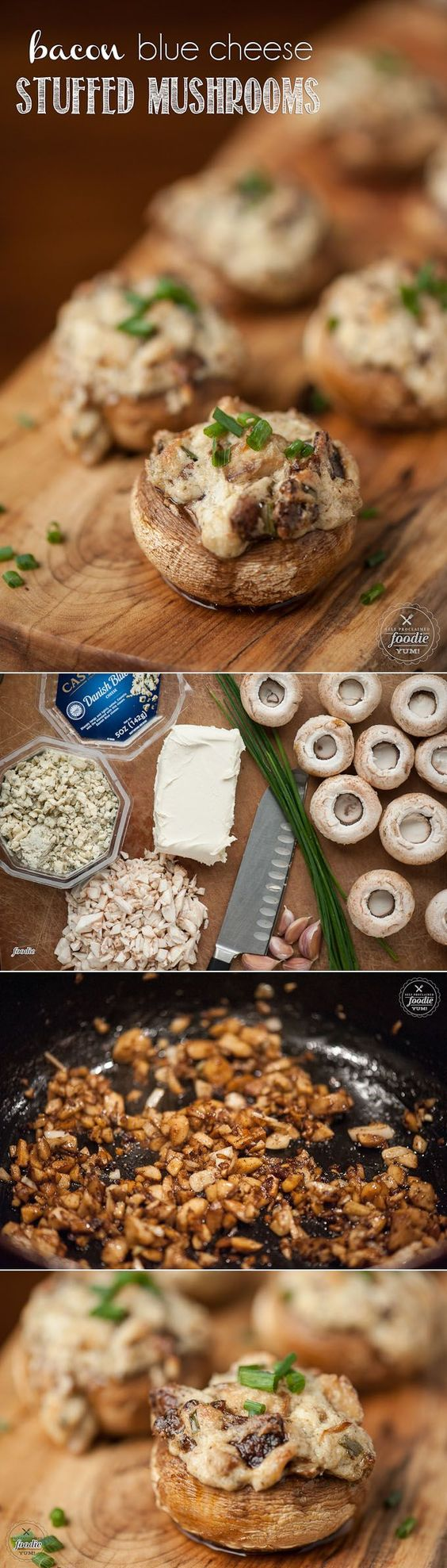 These Bacon Blue Cheese Stuffed Mushrooms are an incredibly rich and decadent appetizer that are the perfect party finger food everyone will love.