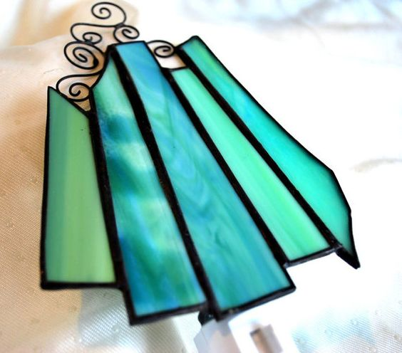 GREEN Stained glass night light  decorative by CreativeGlassStudio, $25.00